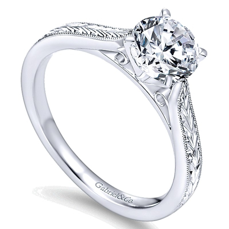 14k Gold Milgrain and Hand Etched Solitaire Engagement Ring ER7223