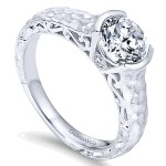 14k White Gold Diamond Solitaire Engagement Ring ER9058W44JJ
