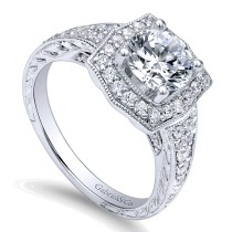 Channel and Hand Cut Etched Round Halo Diamond Ring ER10191W44JJ