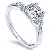 14k Gold Twisted Shank Diamond Halo Ring ER11828R3