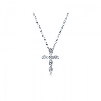 Gaby Necklace 14k White Gold Diamond Cross