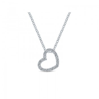 Gaby Necklace 14k White Gold Diamond Heart