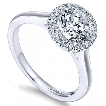 14k Gold Diamond Pave Halo Engagement Ring ER7265